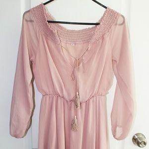 Boho Off the Shoulder Blush Mini Dress